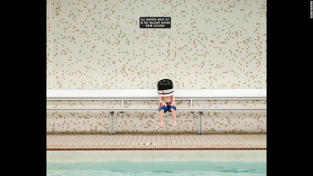 Harrison at a swimming pool. Astronauts also train underwater to simulate the zero-gravity environment they'll encounter in space.