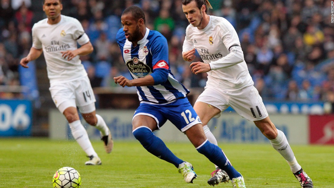 Deportivo's Sidney fights for the ball with Real Madrid's Gareth Bale, who was substituted before the end of the match with the Champions League final still to come for his side.