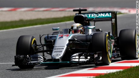 Hamilton in action during his successful afternoon at the Circuit de Catalunya.