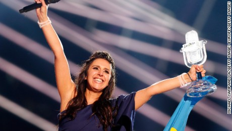 STOCKHOLM, SWEDEN - MAY 14:  Eurovision Song Contest winner 2016 Jamala representing Ukraine is seen on stage with her award at the Ericsson Globe on May 14, 2016 in Stockholm, Sweden.  (Photo by Michael Campanella/Getty Images)