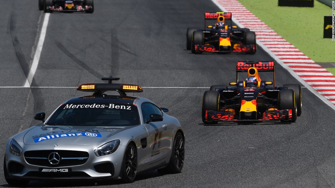 The safety car was subsequently deployed, allowing Red Bull duo Daniel Ricciardo and Verstappen to race to the front.