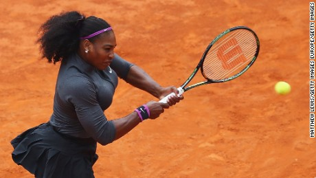 ROME, ITALY - MAY 15:  Serana Williams of the United States in action against Madison Keys of the United States during the Womens Singles Final during the Womens Singles Finalduring day eight of The Internazionali BNL d'Italia 2016 on May 15, 2016 in Rome, Italy.  (Photo by Matthew Lewis/Getty Images)