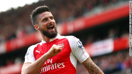 Olivier Giroud ocelebrates scoring hat trick-goal during the Premier League win over Aston Villa at the Emirates Stadium
