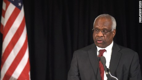 WASHINGTON, DC - MARCH 1: Supreme Court Justice Clarence Thomas speaks at the memorial service for former Supreme Court Justice Antonin Scalia at the Mayflower Hotel March 1, 2016 in Washington, DC. (Photo by Susan Walsh-Pool/Getty Images)