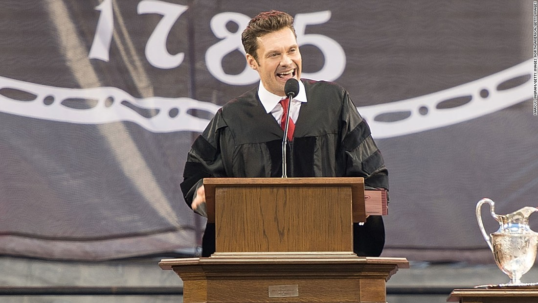 """American Idol"" host Ryan Seacrest spent one year at the University of Georgia before heading to Hollywood to pursue his dreams. He returned on May 13 to deliver the commencement address, <a href=""http://www.redandblack.com/uganews/class-of-encouraged-to-live-passions-laugh-often-trust-intuition/article_04ea91b8-19c0-11e6-92c1-1b8a729525ec.html"" target=""_blank"">telling graduates</a> to follow his lead if the time is right: ""If something is important, the best time for it to happen is right now,"" he said. ""And if it's not important, then move on to something that is."""
