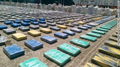 "Handout picture released by the Colombian police showing eight tons of seized cocaine in Turbo, Antioquia department, on May 15, 2016. General Jorge Nieto, the head of the Colombian police, said the seized cocaine belonged to the Usuga clan. / AFP PHOTO / COLOMBIAN POLICE HO / RESTRICTED TO EDITORIAL USE - MANDATORY CREDIT ""AFP PHOTO /COLOMBIAN POLICE"" - NO MARKETING - NO ADVERTISING CAMPAIGNS - DISTRIBUTED AS A SERVICE TO CLIENTS  COLOMBIAN POLICE HO/AFP/Getty Images"