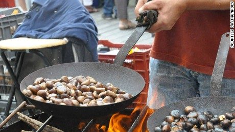 Chestnuts done in the classic way: roasted over a hot flame.