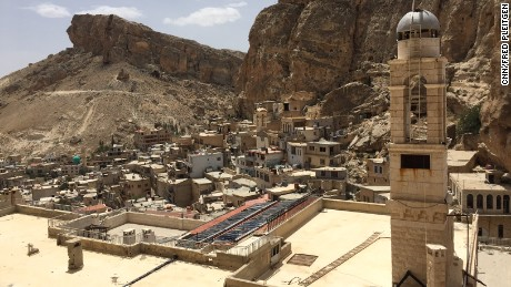 Maaloula lies in the Anti-Lebanon Mountains