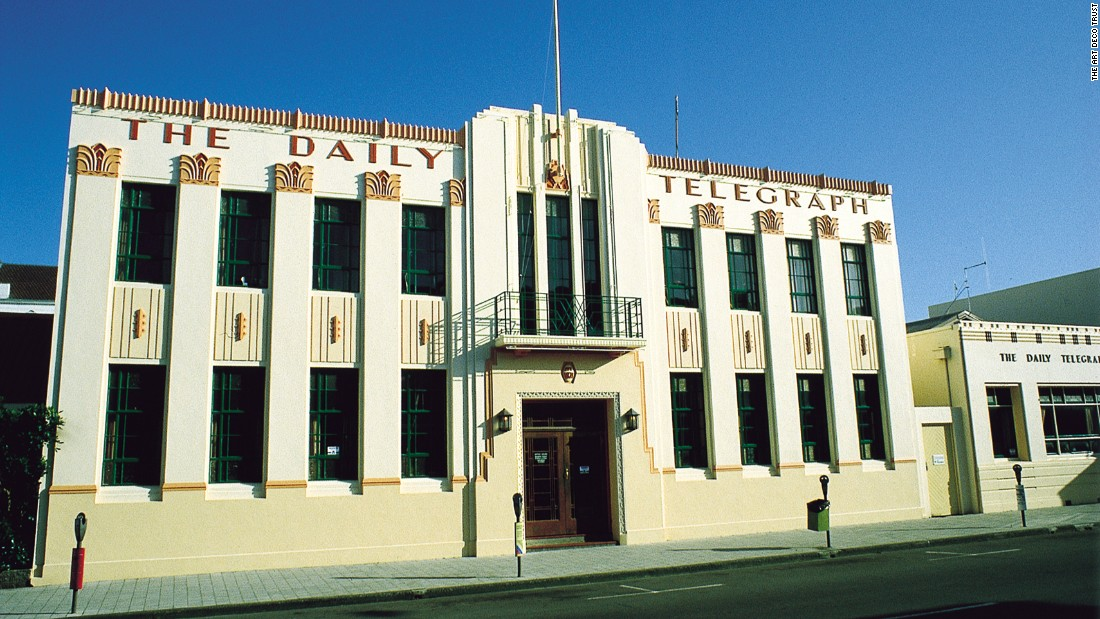The Daily Telegraph building, designed by E. A. Williams, is one of Napier's most flamboyant Art Deco structures. Completed in 1932, it exhibits many recognizable Art Deco features including zig-zags, fountains, ziggurats and a sunburst at the base of the flag-pole.