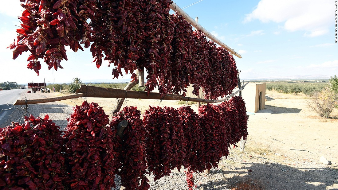 These red peppers are used to make harissa paste, Tunisia's national condiment.
