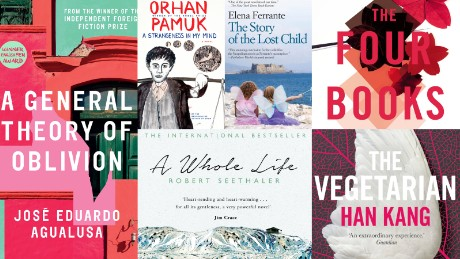 The Man Booker International shortlisted titles. This is the first year the prize was awarded on the basis of a single book instead of an author's body of work.