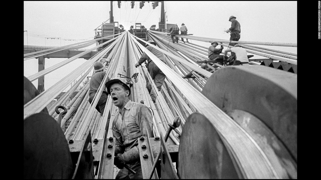 Construction work is carried out on New York's Verrazano-Narrows Bridge in 1963.
