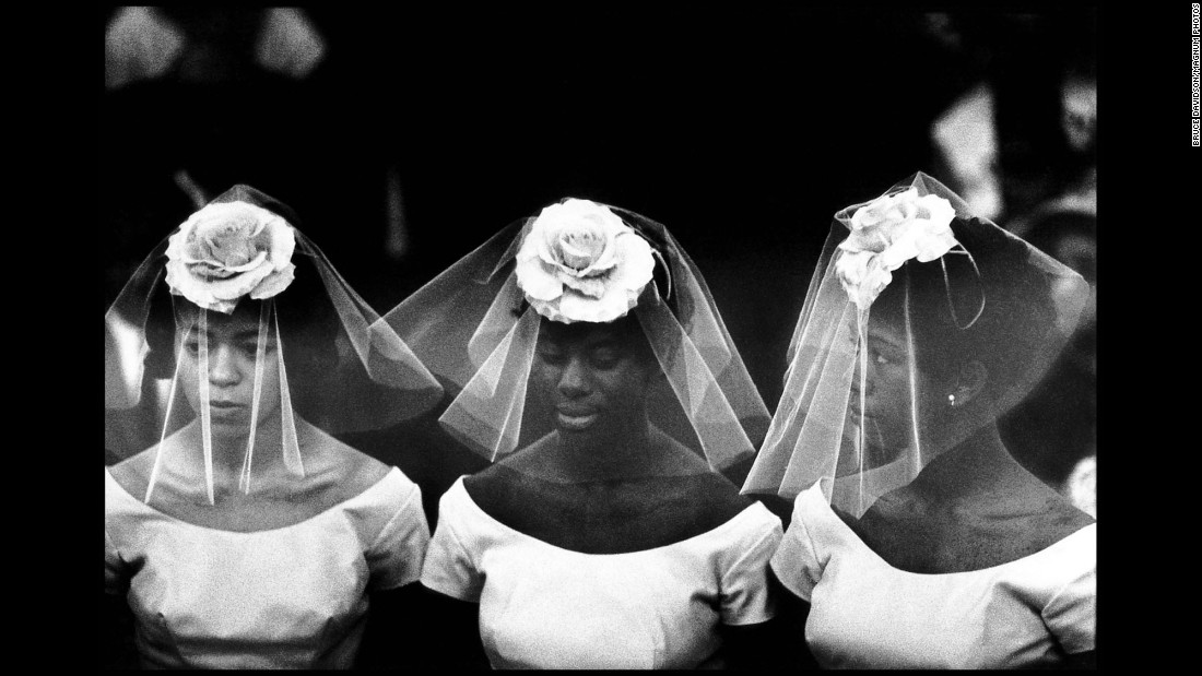 Bridesmaids attend a wedding in New York's Harlem neighborhood in 1962.