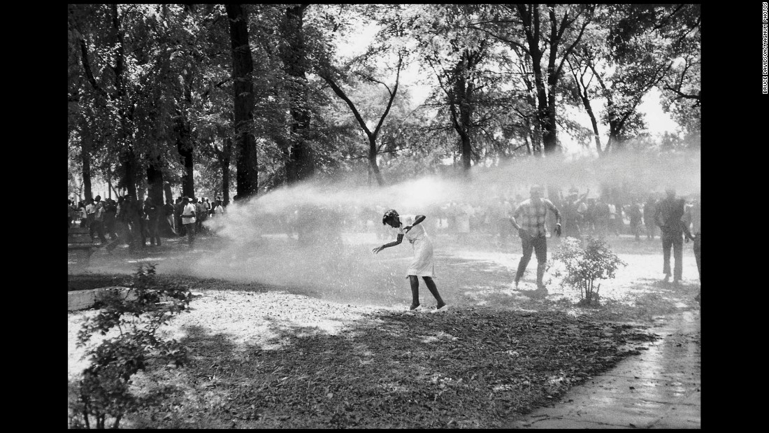 Firefighters turn their hoses on civil rights protesters in Birmingham in 1963.