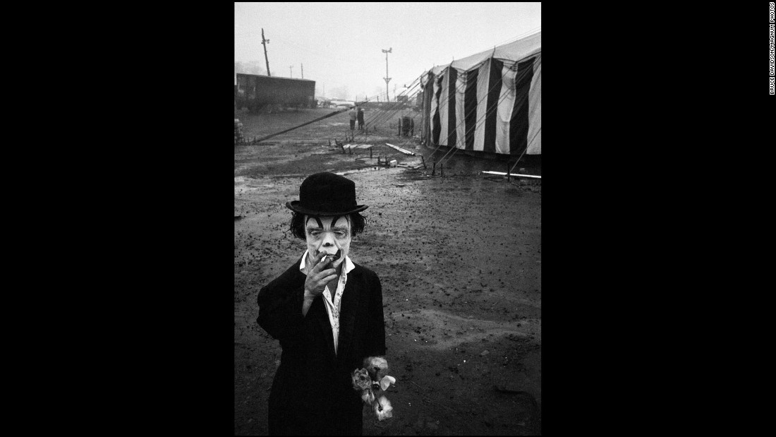 Jimmy Armstrong, a circus performer, smokes in Palisades, New Jersey, in 1958.