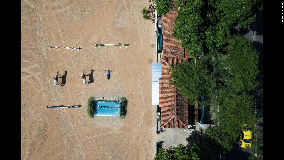 An equestrian course is seen above Rio.