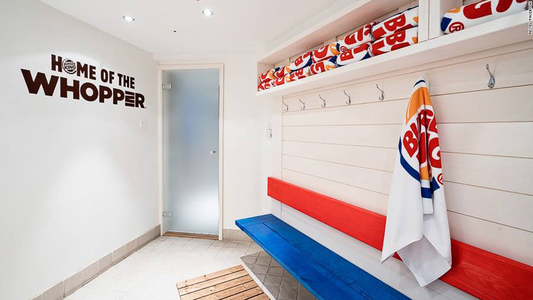 Guests can drape themselves in Burger King towels or robes and order food and beverages direct to the sauna.