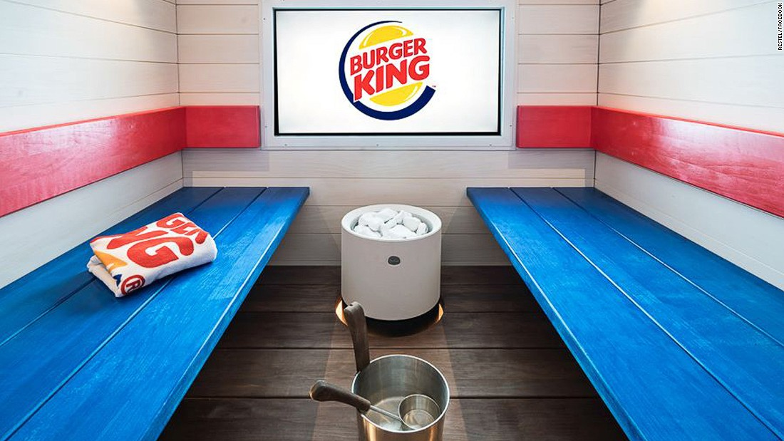 A Burger King in Helsinki, Finland has opened an in-store spa and 15-person sauna.