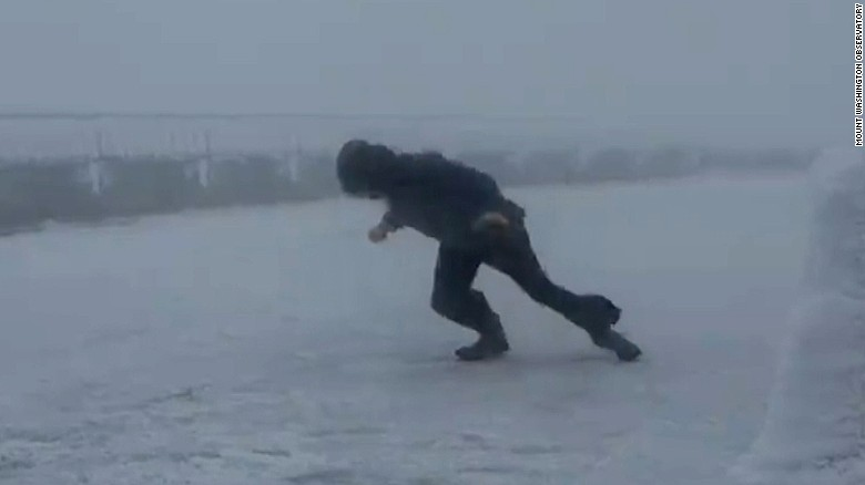 Watch a man take a stroll in 109 mph winds