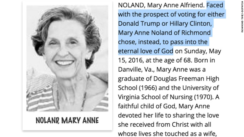 woman s obit says she decided to die instead of vote in the 2016