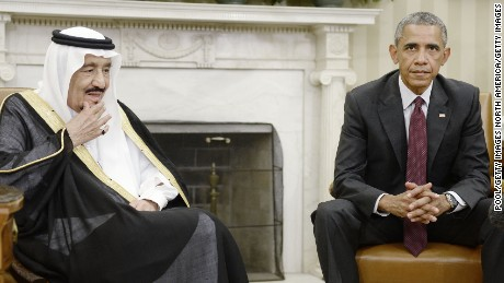 WASHINGTON, DC - SEPTEMBER 04:  U.S. President Barack Obama speaks as King Salman bin Abd alAziz of Saudi Arabia looks on during a  bilateral meeting in the Oval Office of the White House September 4, 2015 in Washington, DC. The President and the King were expected to discuss various issues including joint security and counter-terrorism efforts. (Photo by Olivier Douliery-Pool/Getty Images)