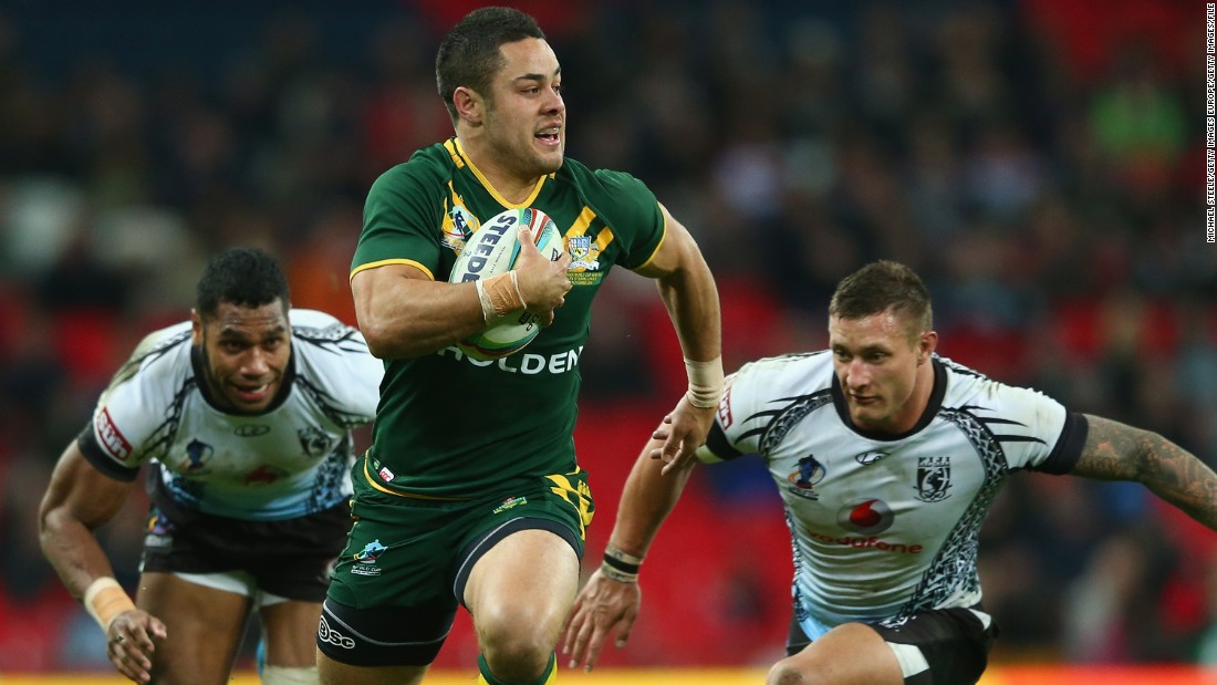 Hayne helped the Kangaroos win the 2013 Rugby League World Cup -- here he is in action against Fiji in the semifinals.