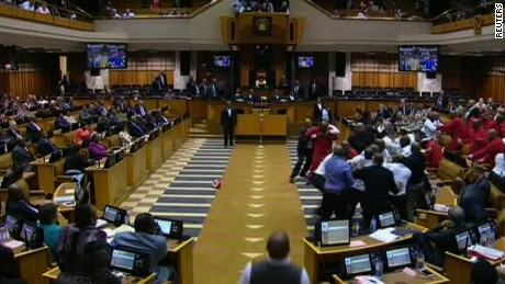 Brawl erupts in South African parliament