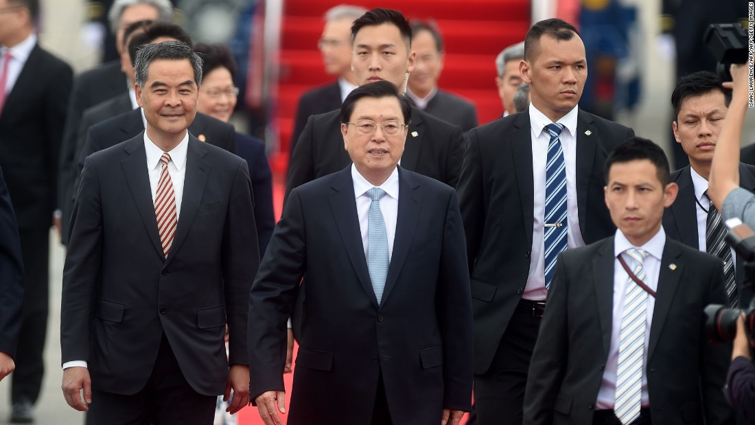 Zhang is the Chairman of China's National People's Congress (NPC) Standing Committee. Hong Kong officials ramped up security for his visit amid threats of protests. Zhang's in Hong Kong to attend the inaugural Belt and Road Summit to explore closer ties between Hong Kong and the mainland.