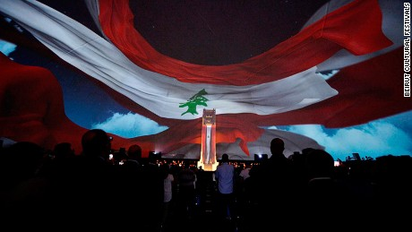 Flag of freedom: The show celebrates Lebanon's independence.