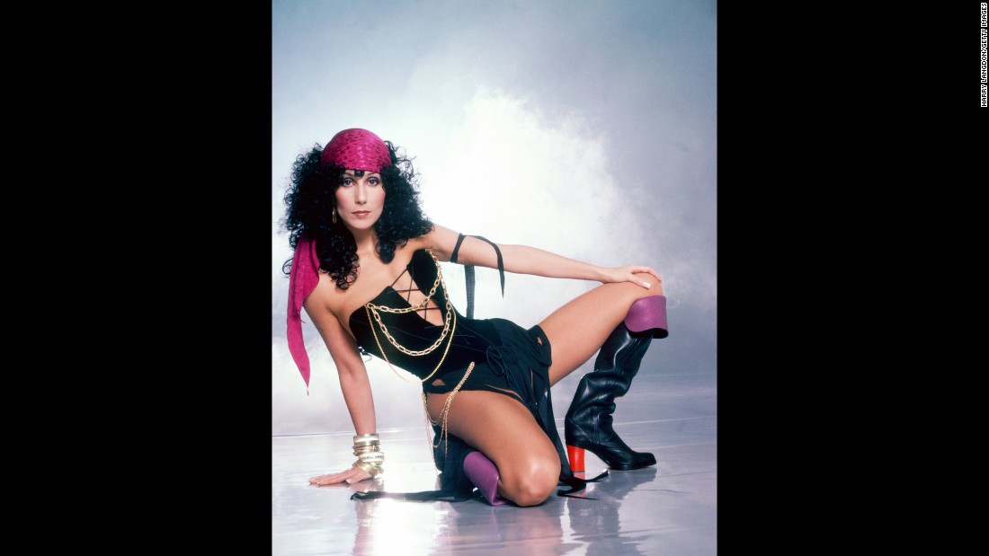Cher models Bob Mackie fashion in 1978.