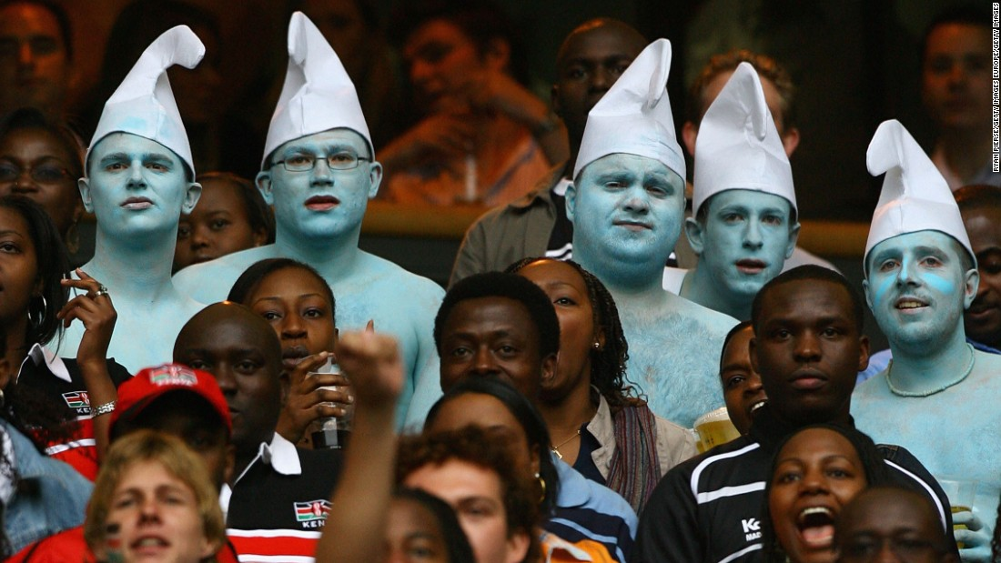 Smurf costumes can be seen at many UK sporting events.