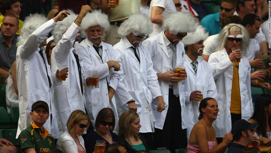 In 2009, this set of Albert Einstein lookalikes partied at Twickenham.