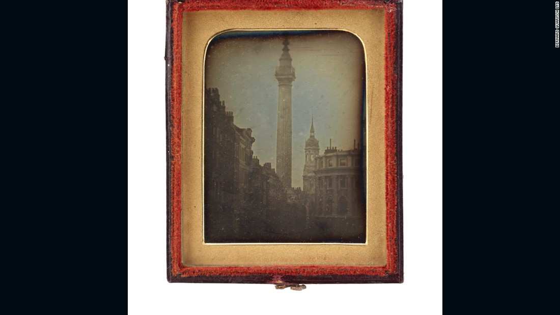 """The image from Quaritch is fascinating. There are a number of artists in this year's fair who have taken London as their theme; a number of galleries who I wouldn't say have concentrated entirely on London, but have made a great play about London. This image by an anonymous photographer, which dates back to almost 1840 -- so very early in the life of photography -- is a stunningly beautiful portrait of Trafalgar Square. It's also beautifully presented."""