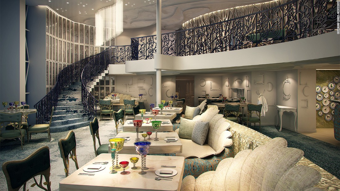 "Specialty restaurant Wonderland, already a hit on a few other Royal Caribbean vessels, has gotten an upgrade. ""It's been expanded on Harmony of the Seas,"" says Tamis. ""It's actually a two-story venue that is going to be dramatically beautiful. """