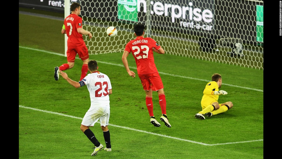 Coke scores Sevilla's third goal in the 70th minute. He had two goals in the match.