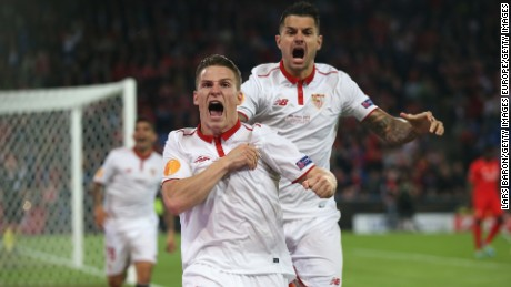 Kevin Gameiro of Sevilla celebrates scoring his team's first goal against Liverpool.