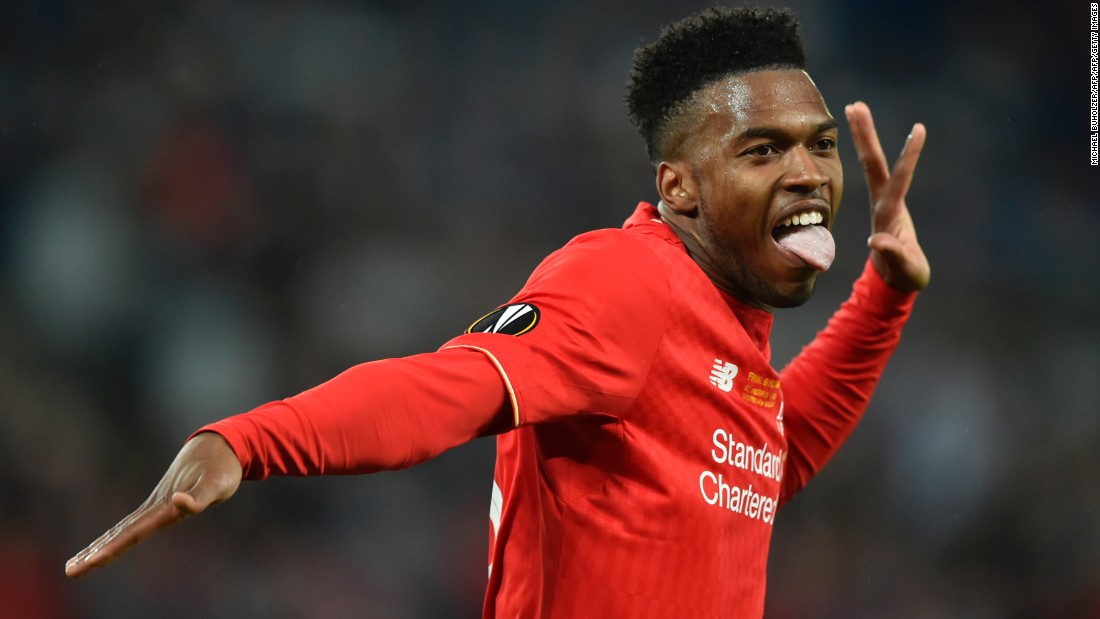 Sturridge celebrates scoring the opening goal of the game.