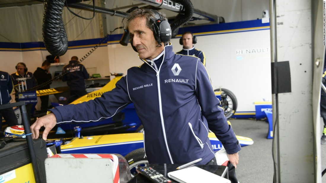 Prost attends the practice of the French stage of the Formula E championship around Les Invalides in Paris on April 23. He is focused on winning the Formula E title with Renault.