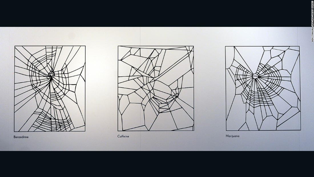 Vollrath  took commissions from the U.S. military to study how drugs, including LSD, affected a spiders' web building. Pictured, three seperate images illustrating experiments of spiders making webs under the influence of the drugs Benzedrine (L), Caffine (C) and Marijuana, (R).