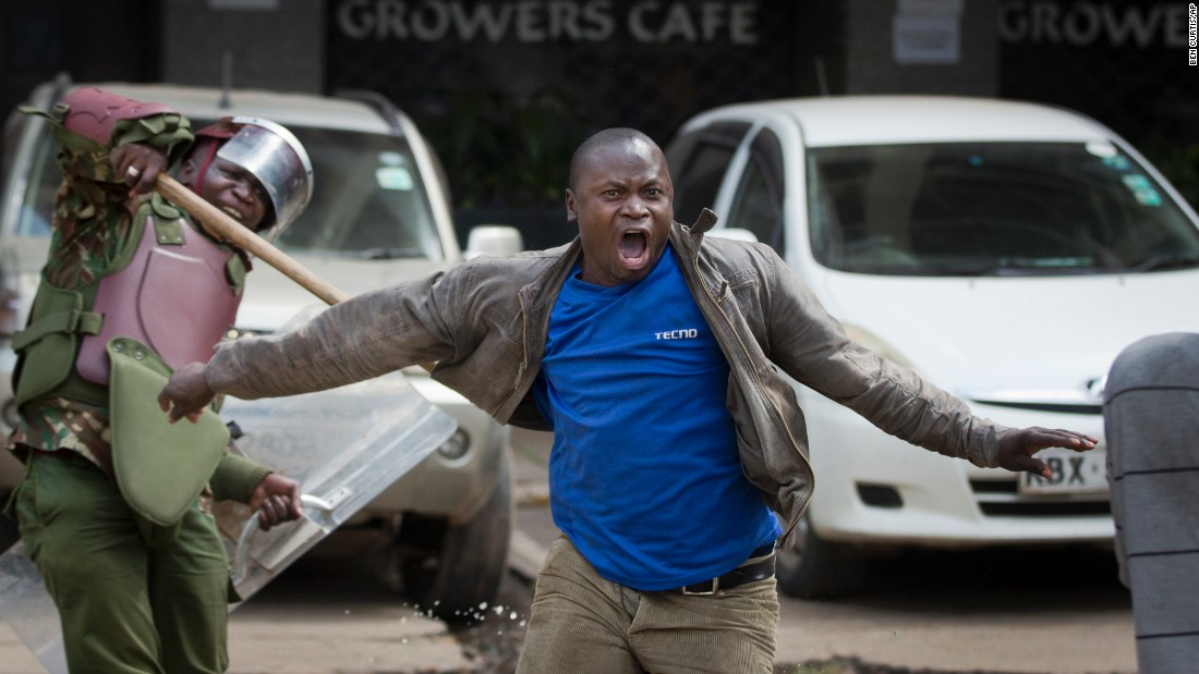 "An opposition protester yells as he is beaten by riot police in Nairobi, Kenya, on Monday, May 16. Police in Kenya's capital <a href=""http://www.cnn.com/2016/05/17/africa/kenya-police-violence/"" target=""_blank"">came under fire</a> for what critics said was a heavy-handed response to a largely peaceful opposition protest. Kenya's police chief has called for an internal investigation, according to Interior Ministry spokesman Mwenda Njoka."