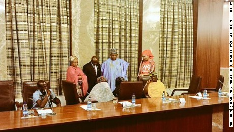 Amina Ali, seated center, at the Presidential Villa in Abuja.