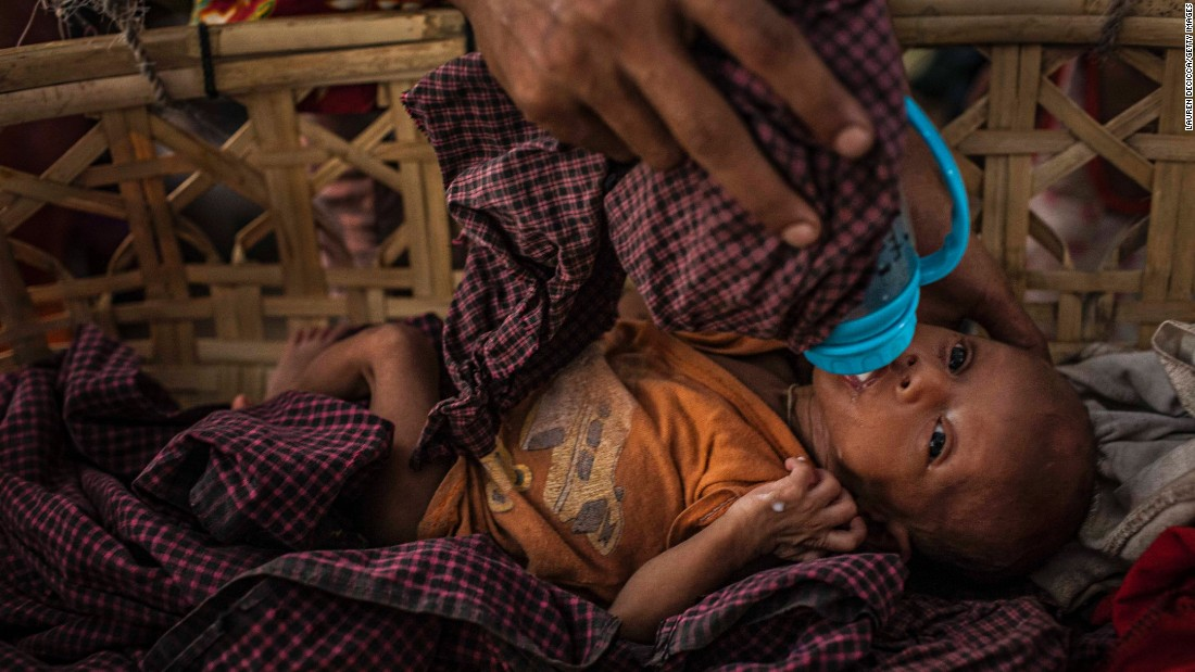 "A Rohingya woman feeds her baby at a camp in Sittwe, Myanmar, on Tuesday, May 17. <a href=""http://www.cnn.com/2016/03/31/asia/myanmar-rohingya-camp/"" target=""_blank"">More than 100,000 Rohingya were displaced</a> when ethnic violence erupted in the country in 2012."