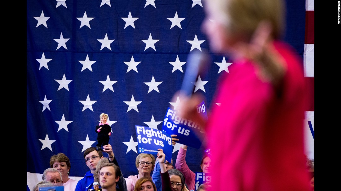 "A Hillary Clinton supporter holds up a Clinton doll as the presidential candidate speaks in Lexington, Kentucky, on Monday, May 16. Clinton <a href=""http://www.cnn.com/2016/05/17/politics/primary-results-highlights/index.html"" target=""_blank"">narrowly won</a> the state's Democratic primary."