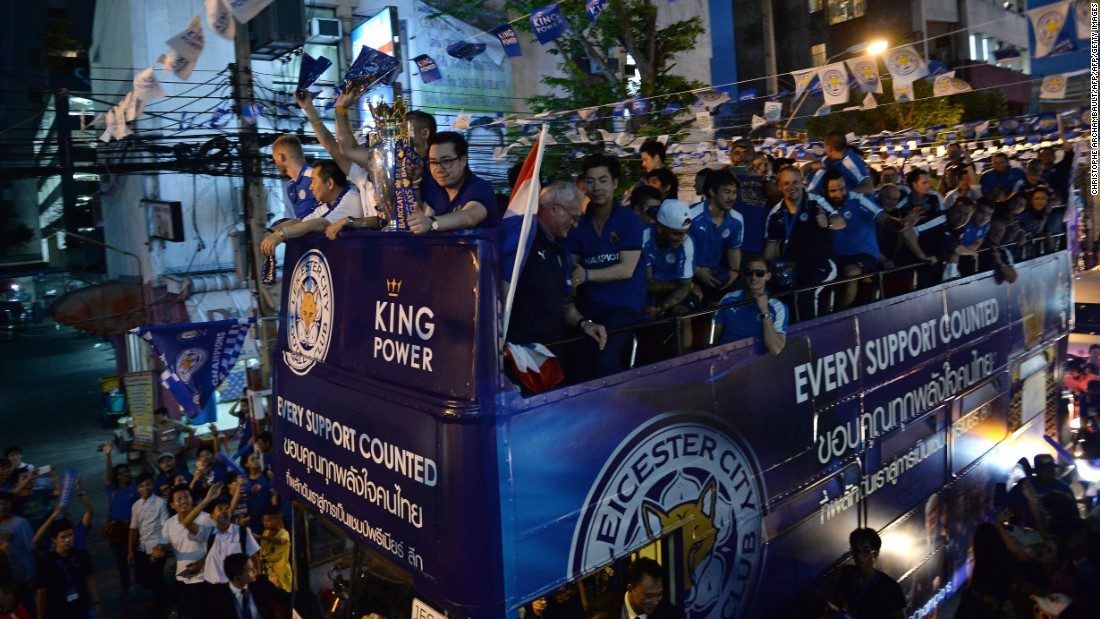The Leicester victory parade continues as dusk begins to fall.