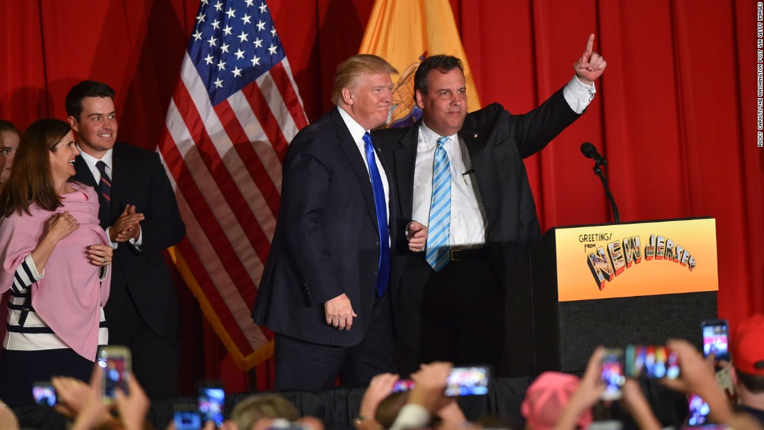 Republican presidential candidate Donald Trump and New Jersey Gov. Chris Christie, right, acknowledge the crowd before speaking at a fundraising event in Lawrenceville, New Jersey, on Thursday, May 19.