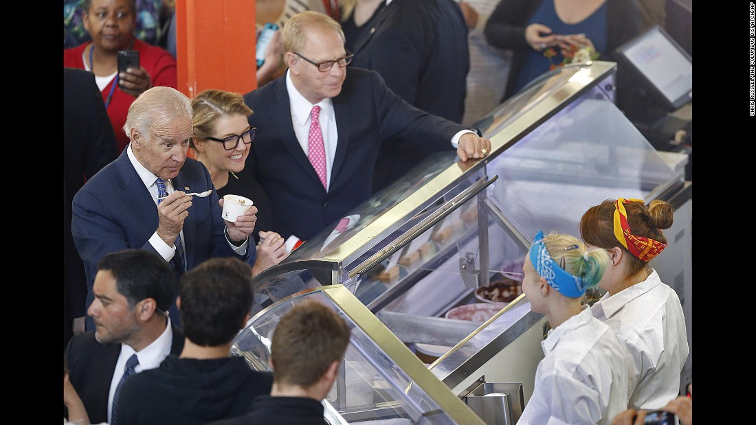 """Vice President Joe Biden orders ice cream at a shop in Columbus, Ohio, on Wednesday, May 18. """"My name is Joe Biden, and I love ice cream,"""" <a href=""""http://thehill.com/blogs/blog-briefing-room/news/280408-vice-president-my-name-is-joe-biden-and-i-love-ice-cream"""" target=""""_blank"""">he said</a> before speaking at the headquarters of Jeni's Splendid Ice Cream."""