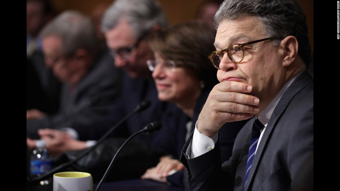 U.S. Sen. Al Franken, right, and other members of the Senate Judiciary Committee attend a meeting to discuss the qualifications of Supreme Court nominee Merrick Garland on Wednesday, May 18.