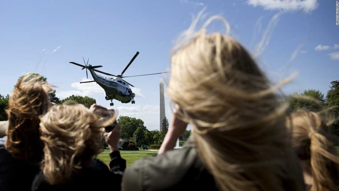 """Marine One lifts off from the South Lawn of the White House on Sunday, May 15. The President was bound for Rutgers University, where he was <a href=""""http://www.cnn.com/2016/05/15/politics/obama-donald-trump-rutgers-university/"""" target=""""_blank"""">giving the commencement address. </a>"""