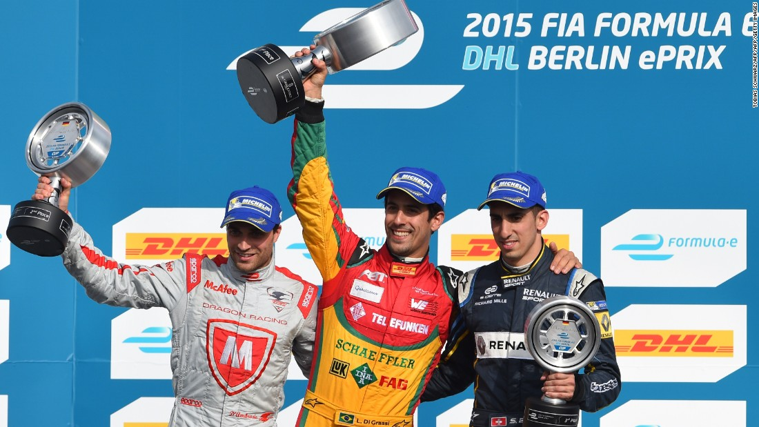 Last season's race was won by Lucas di Grassi (C) on the track, but he was disqualified for a technical infringement, handing victory to Jerome D'Ambrosio (L).