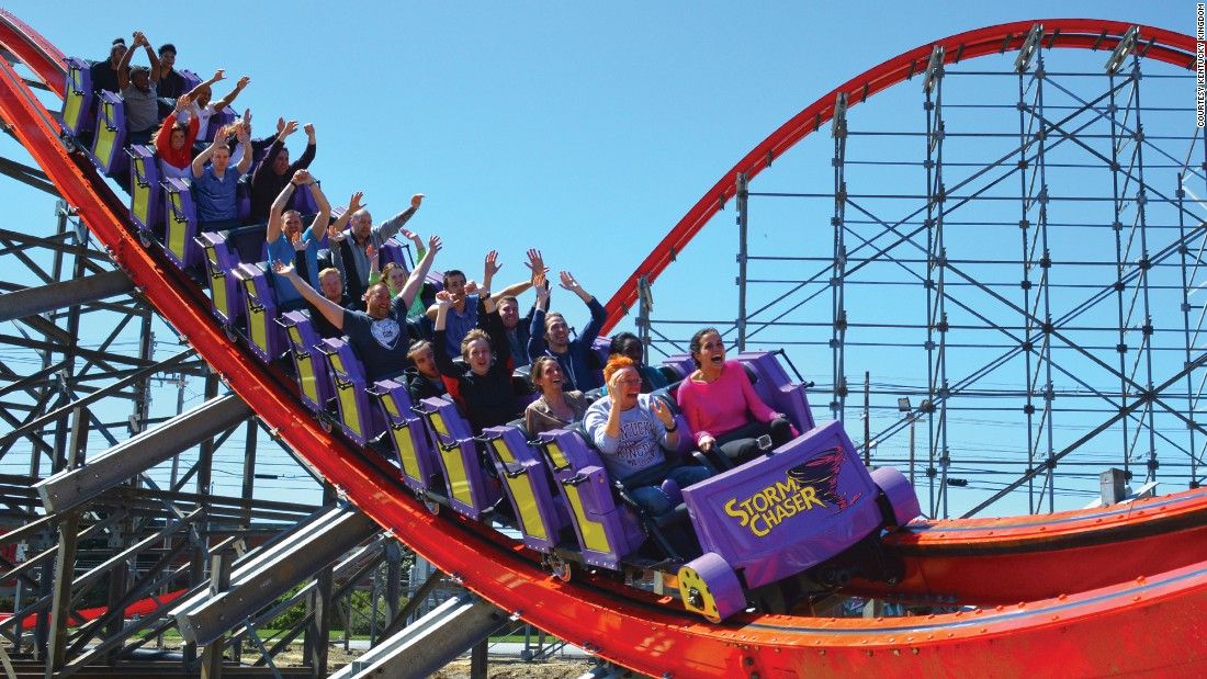 "The new <a href=""https://www.kentuckykingdom.com/"" target=""_blank"">Storm Chaser </a>coaster at Kentucky Kingdom, which stopped being a Six Flags park in 2010, has 12 airtime moments, three inversions and more."